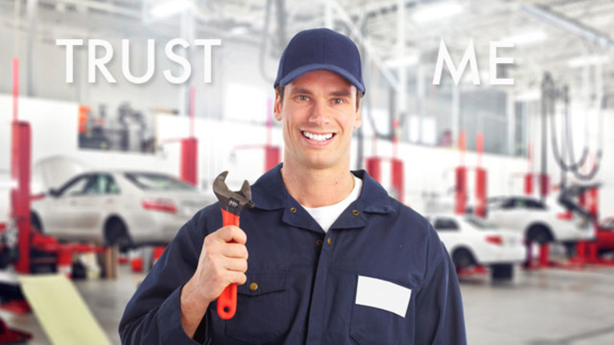 A smile means nothing if on the lips of a shady auto mechanic
