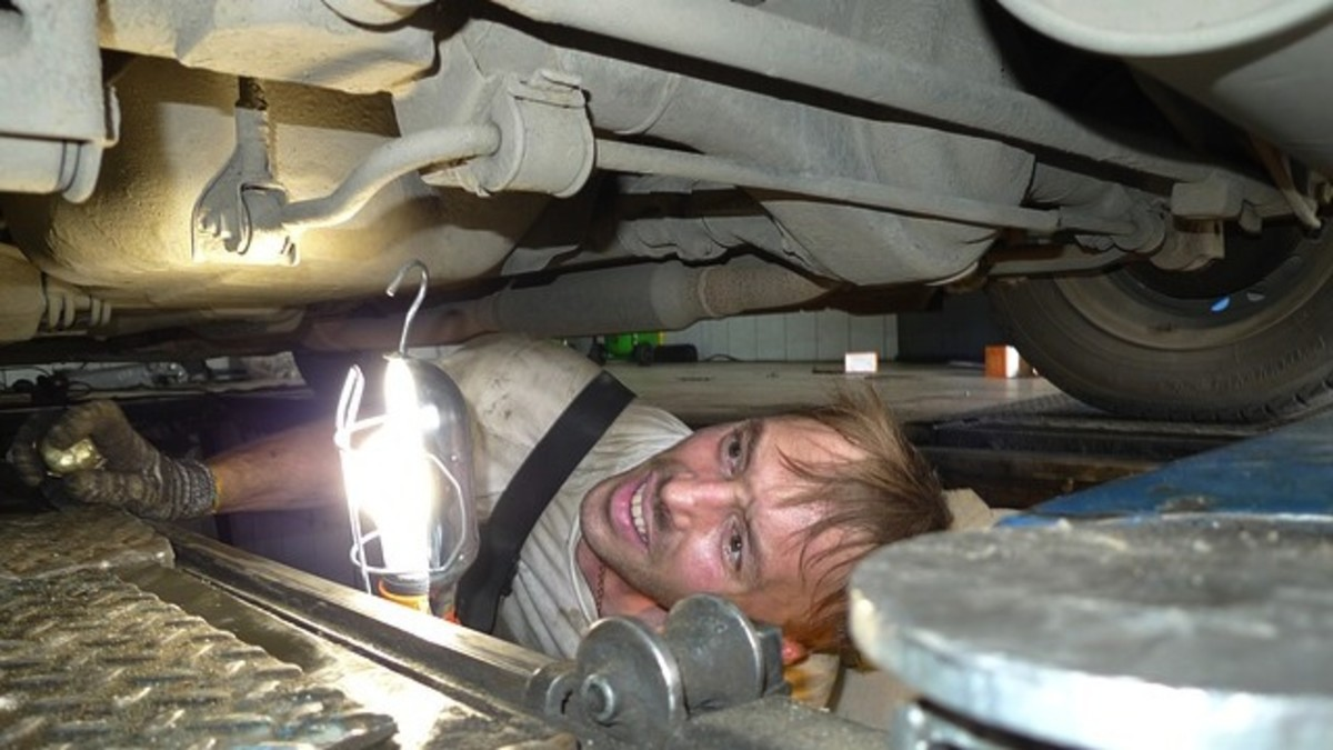 A shady auto mechanic can lay under your car and hit something against the metal making you think that he has found something to be fixed