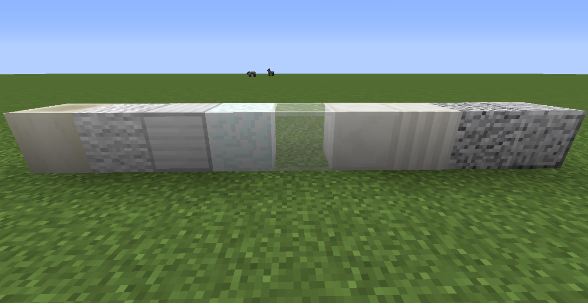 (From left to right) Bone Block, White Wool, Iron Block, Snow Block, White Glass, Quartz Block, Quartz Pillar, Diorite, Polished Diorite