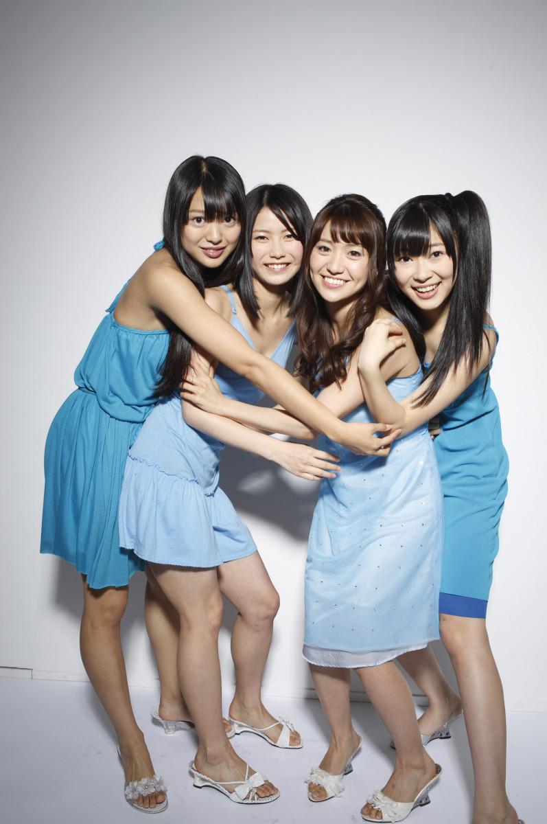 With her band mates from the group Not Yet. From left to right: Rie Kitahara, Yui Yokoyama, Yuko Oshima, and Rino Sashihara.