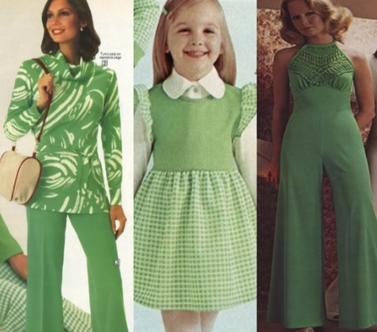 Green tunic and pants, checkered dress, and  sleeveless disco bodysuit