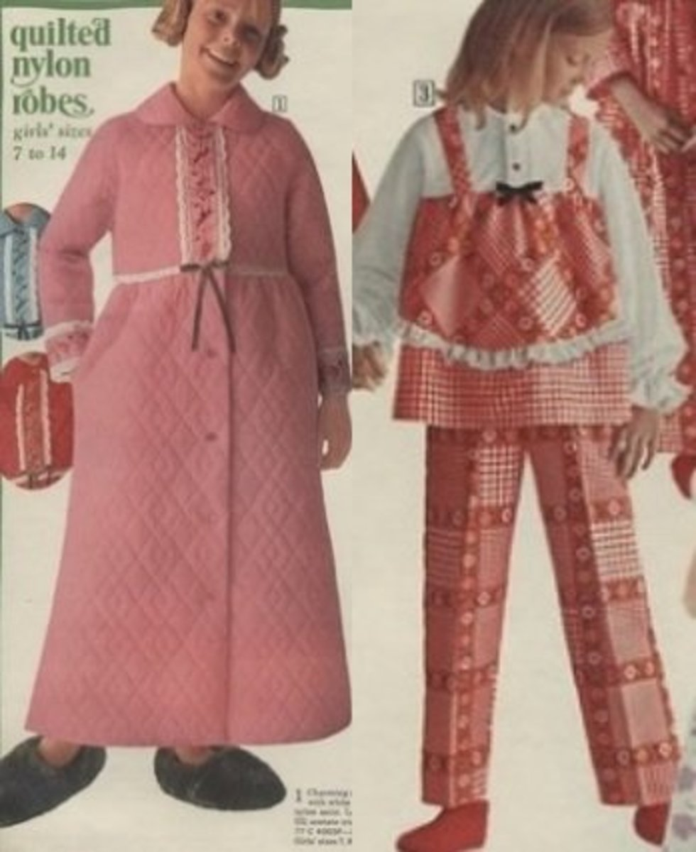 Girls quilted robe and red plaid tunic pajamas