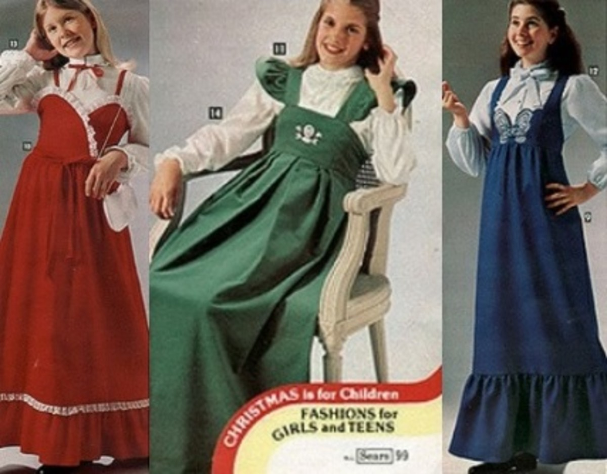 Floor-length jumper dresses for girls in red, green, and blue