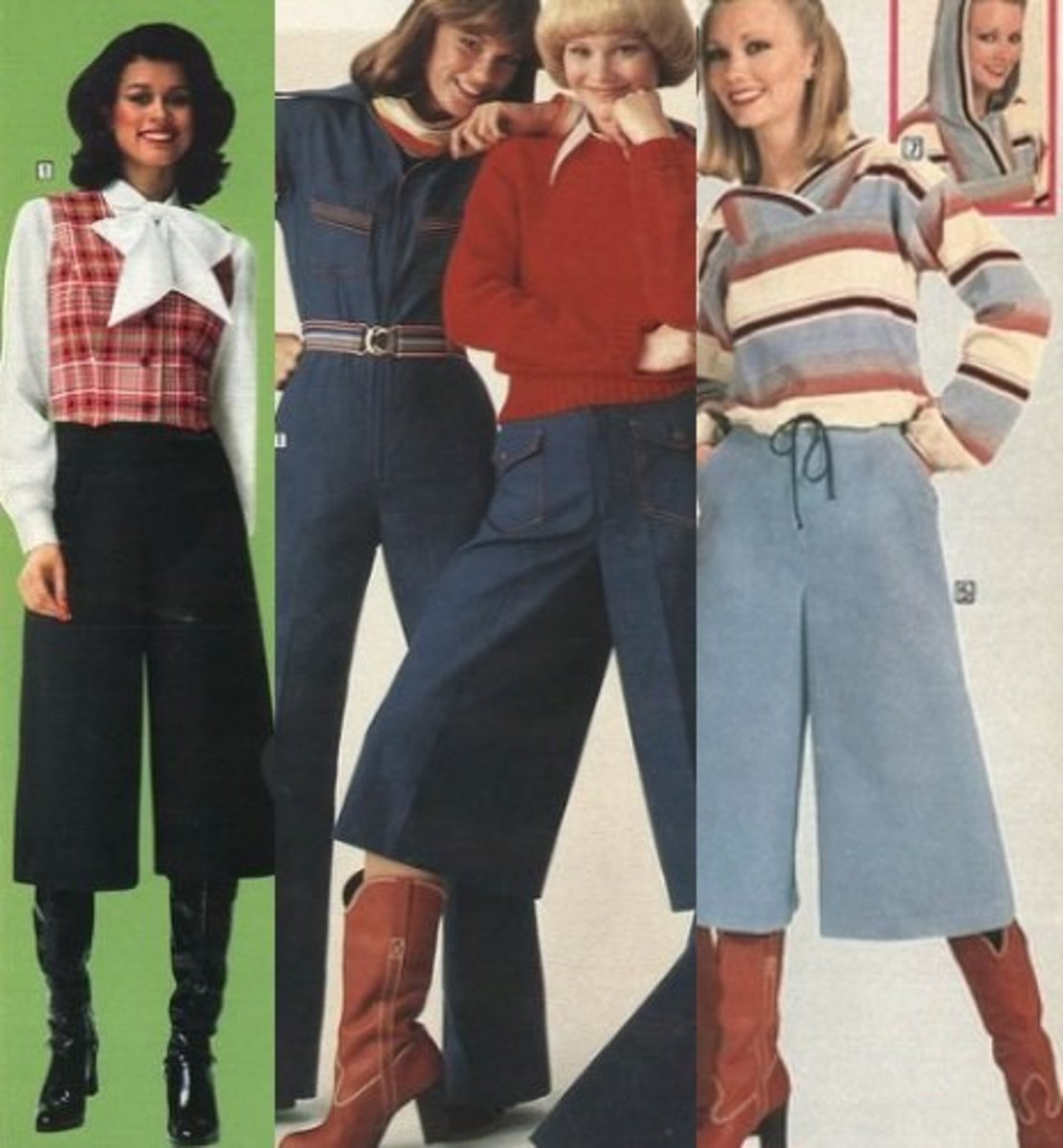Culottes and boots, teen 70s fashion