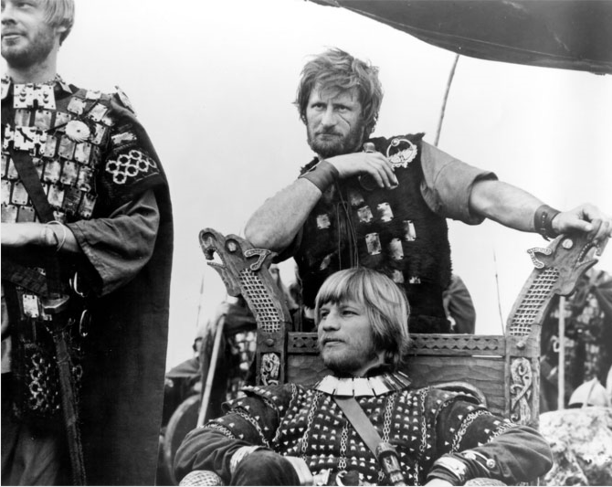 Michael York as Guthrum. He assumed kingship of  East Anglia after Eadmund's death for cowardice by the Danes at Bury in Suffolk. Eadmund fled to the church, leaving his men to fight for him (still from the film 'Alfred the Great' with David Hemmings