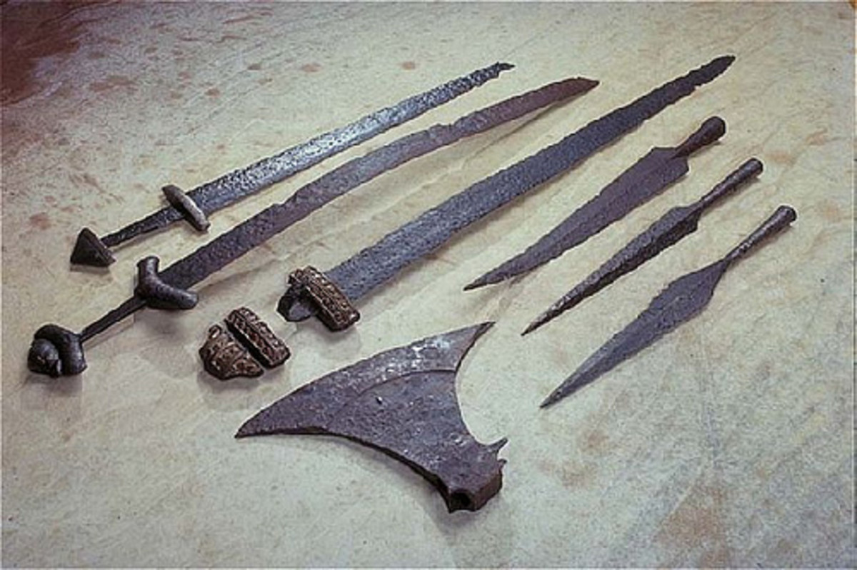 Weaponry unearthed - these swords, spear and axe heads were well crafted, lasting perhaps ten centuries in the soil