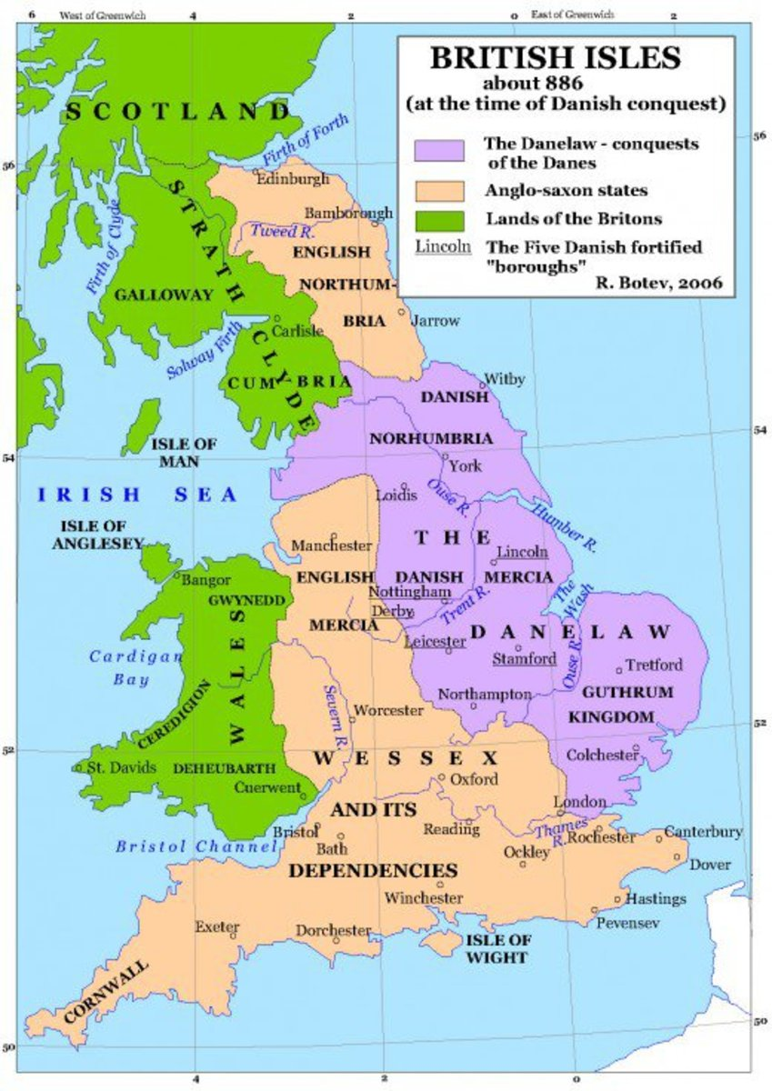 Following Guthrum's conversion and naming as Aethelstan - not to be confused with Aelfred's grandson - the land east and north of the old Roman road, Watling Street was parcelled out to the Danes. Guthrum had East Anglia, Halvdan Ragnarsson Yorvik