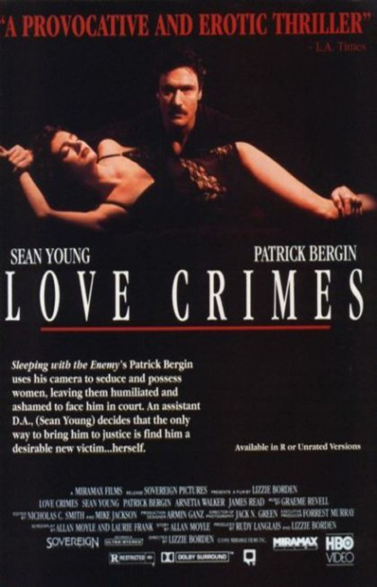 Theatrical poster for Love Crimes. Property of Miramax Films.