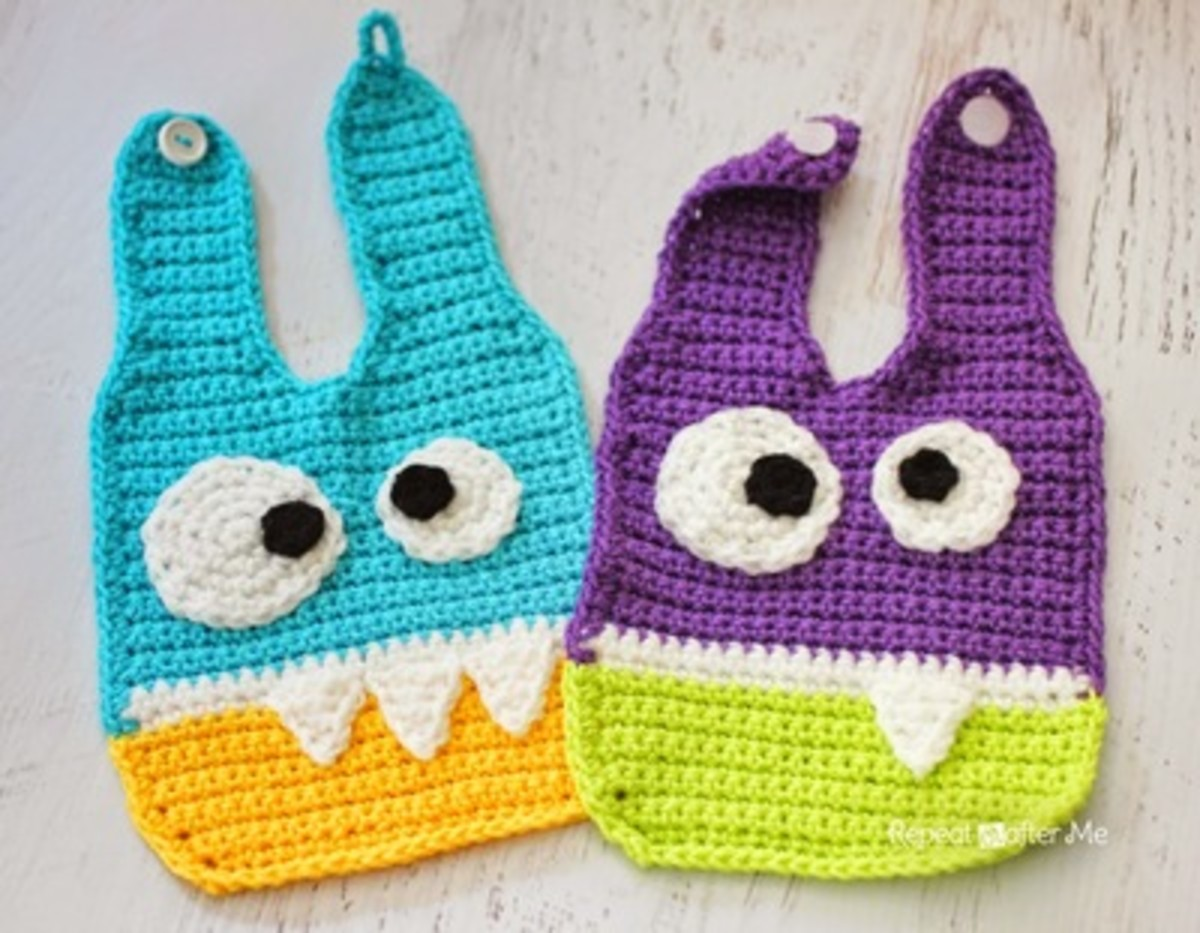 These bibs can be customized with colors, teeth number, and googly eye position. Any combination will look adorable as your own little monster is munching away.