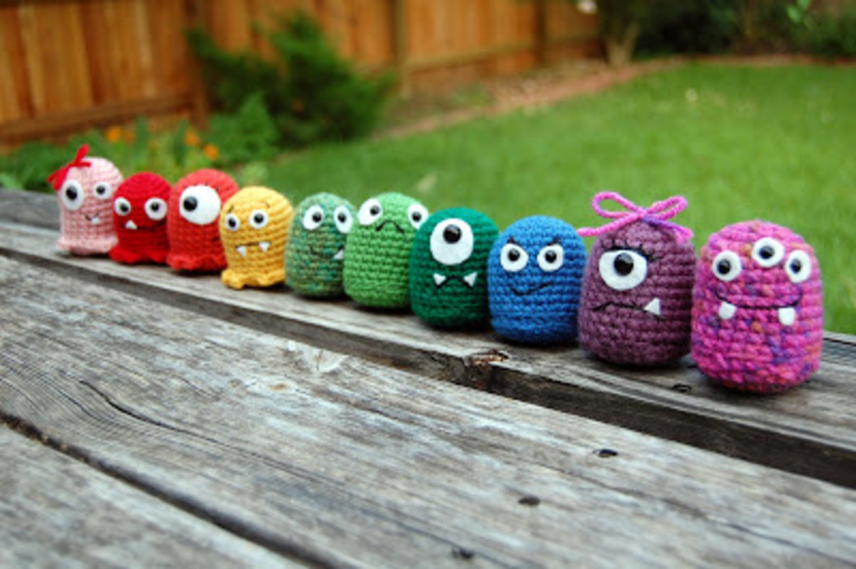 A pretty good beginner project because it teaches how to start crochet in the round, how to single crochet, how to increase, and basic construction and customization of amigurumi.