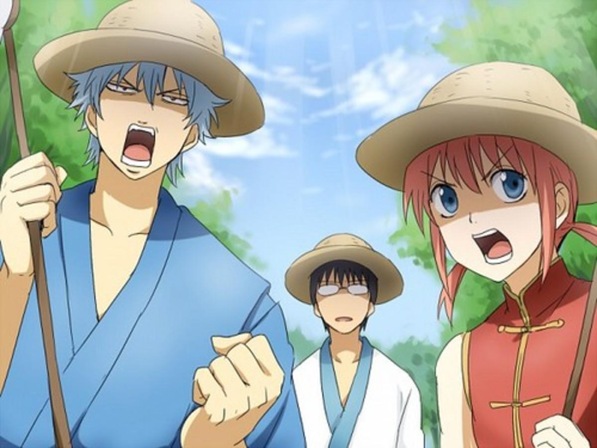 From left to right: Sataka Gintoki, Shinpachi Shimaru and Kagura.