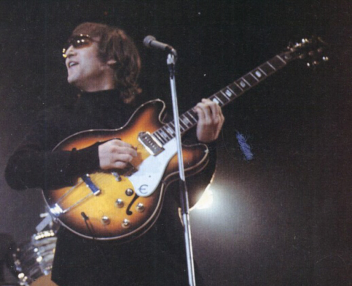 John Lennon with his Epiphone casino before modifications while with The Beatles.