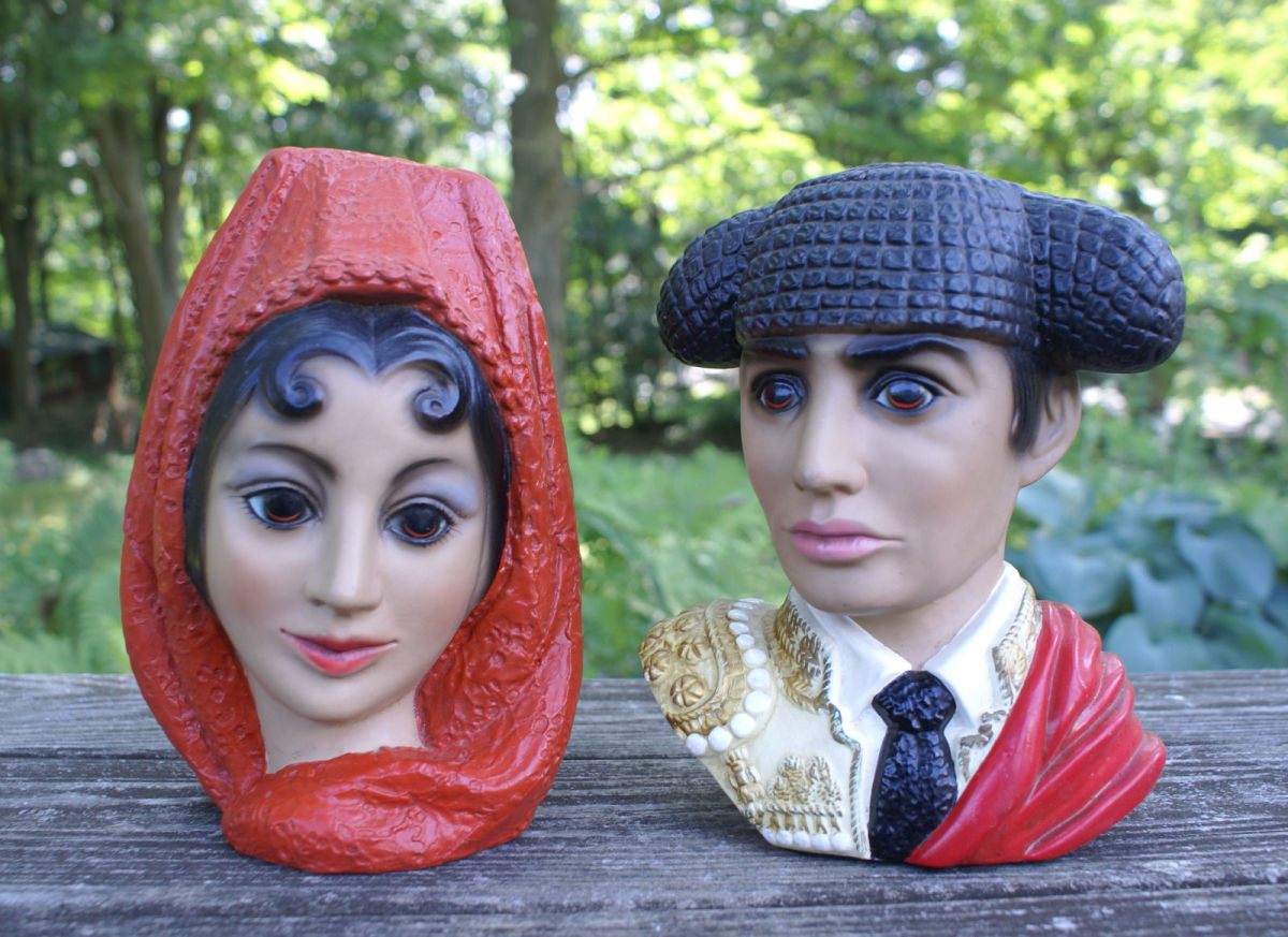 Vintage 8.5 inches high plaster ware by LEGO of japan.  Both have felt bottoms with the name and number stamped on.  It looks like the man is #4503 and the lady is #4123.  Great retro kitsch and they are certainly a commanding couple, with their big