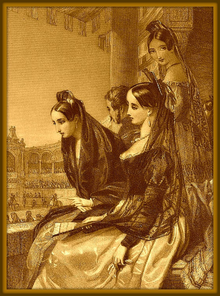 During the Golden age of the Bull Fight around the 1840s … The  Spanish ladies of the upper class would dress up to attend the  Bull fight in hopes of winning the heart of the Matador.