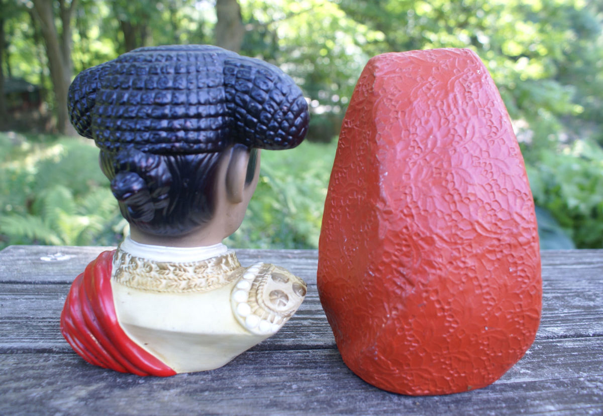 A black felt is upon the base of both busts for non-marring of surface. A great vintage busts set  to display.