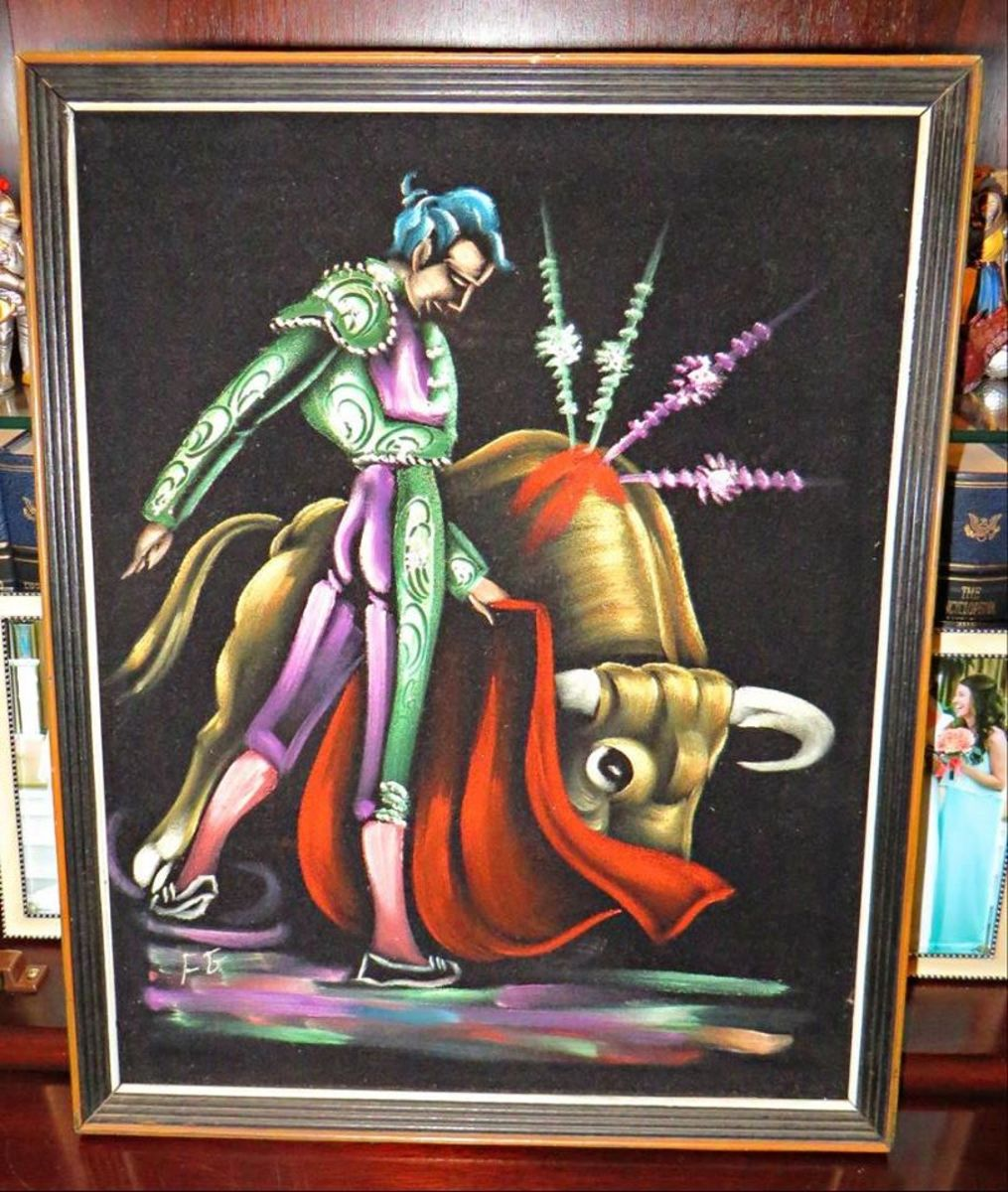 The amazing Black Velvet Matador fighting a Bull and the head bust approve this masterpiece from the 1960s.