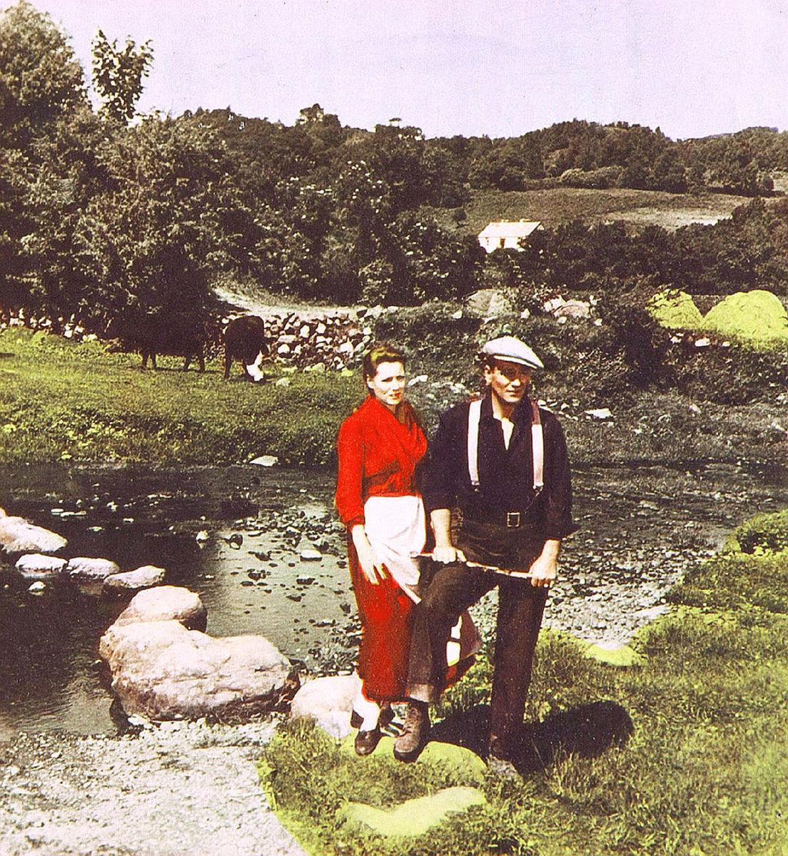 Maureen O'Hara and John Wayne in a scene from The Quiet Man.