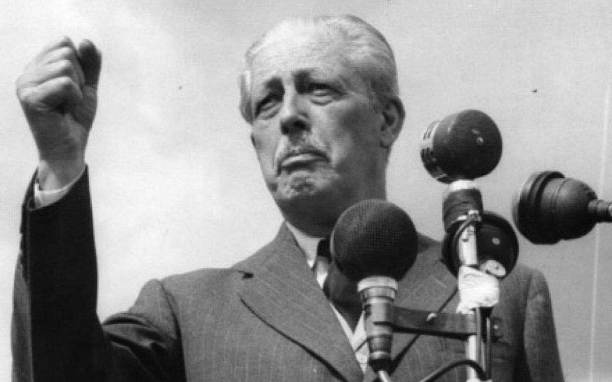 Harold MacMillan at the hustings, affectionately dubbed 'Supermac' by the British Press. He was popular, one of the Left's favourite Tories