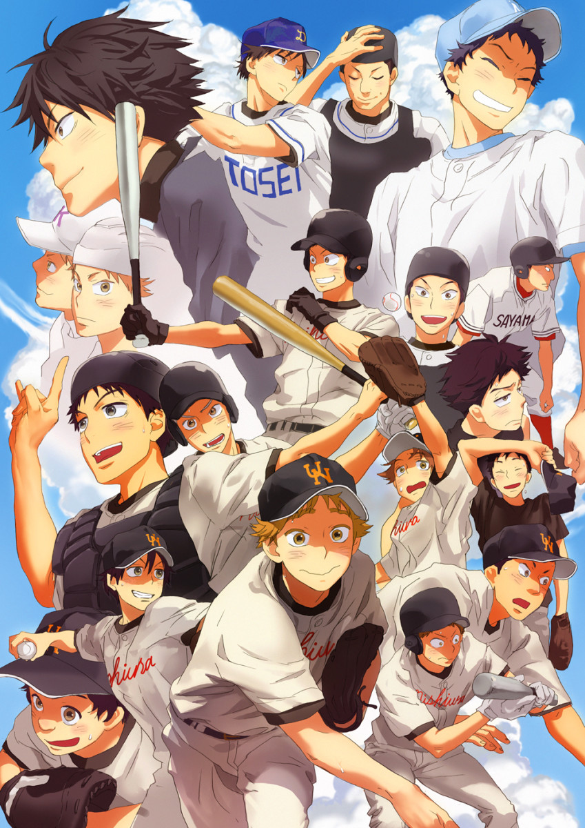 Ren Mihashi and Abe Takaya woth other characters from Ookiku Furikabutte.