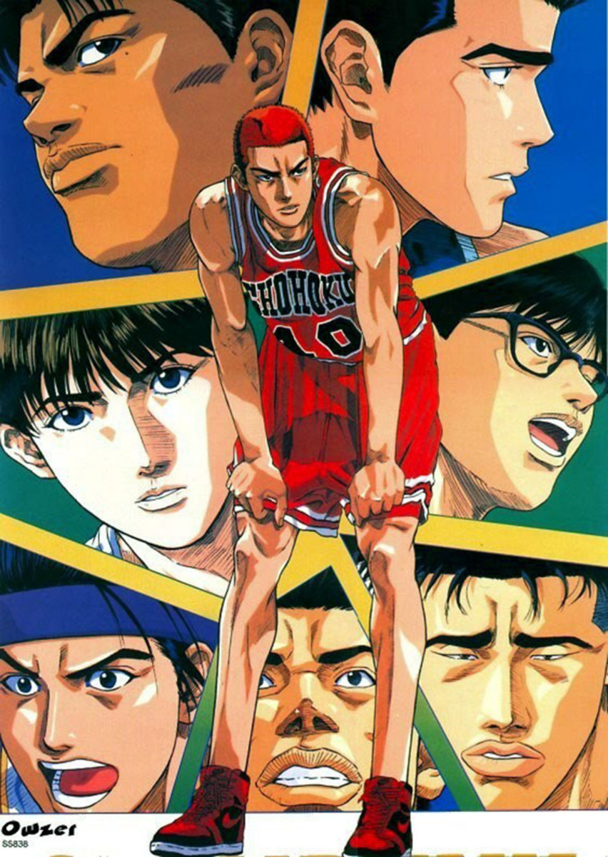Hanamichi Sakuragi with other characters from Slam Dunk.