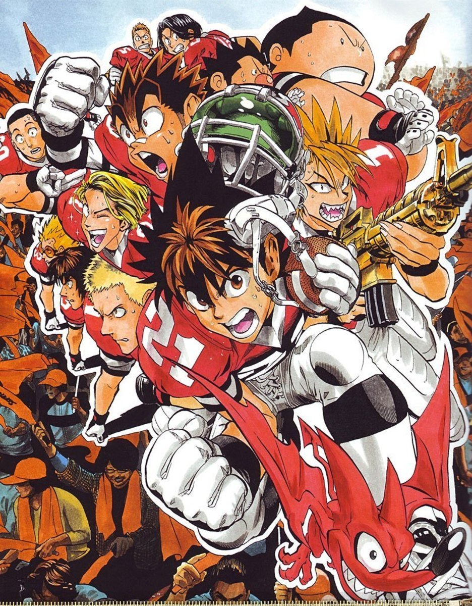 Sena Kobayakawa with other characters from Eyeshield 21.