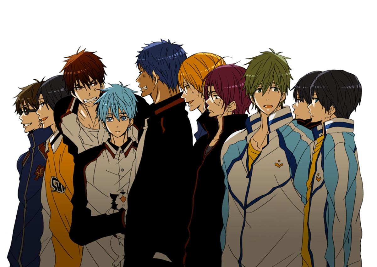 Diamond no Ace, Kuroko no Basket and Free!! - Miyuki Kazuya, Kazunari Taka, Kagami Taiga, Kuroko Tetsuya, Aomine Daiki, Kise Ryouta, Rin Matsuoka, Makoto Tachibana and Haruka Nanase (from left to right)