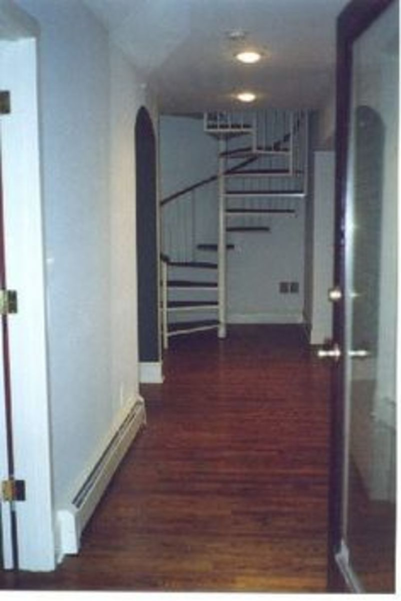 The spiral staircase where the ransom note was found.