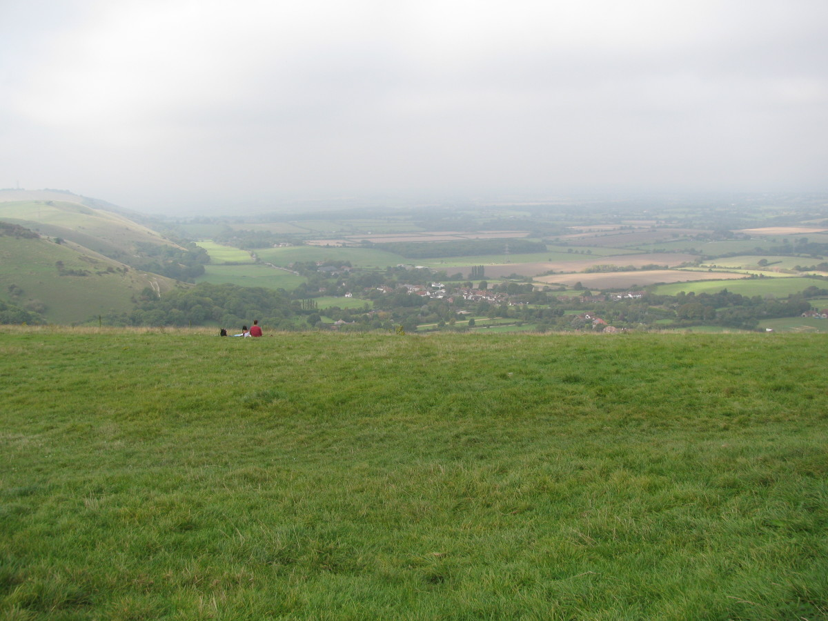 View from the top of Devil's Dyke, left along the South Downs & out over the Weald