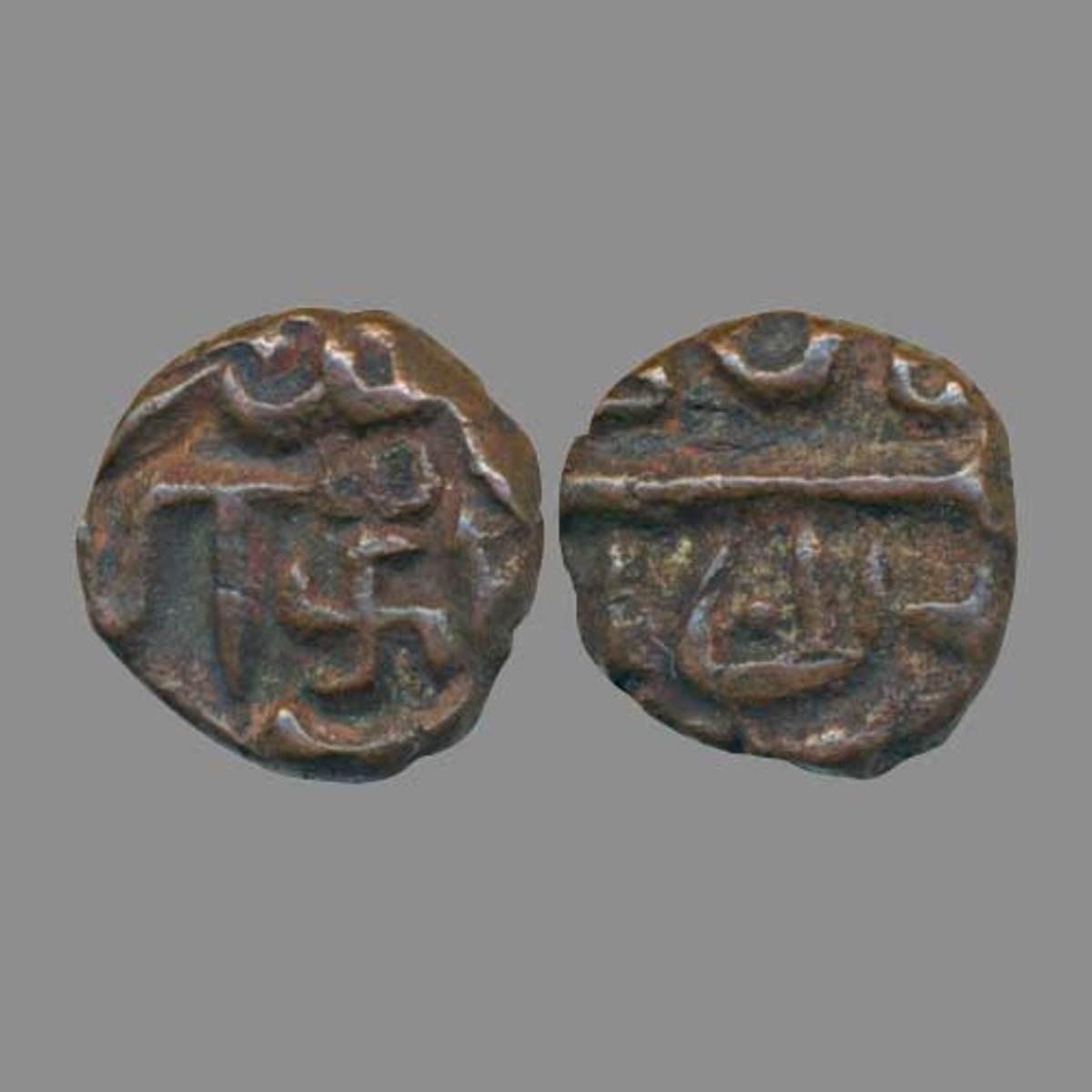 Swastik symbol on coin during Akbar's reign