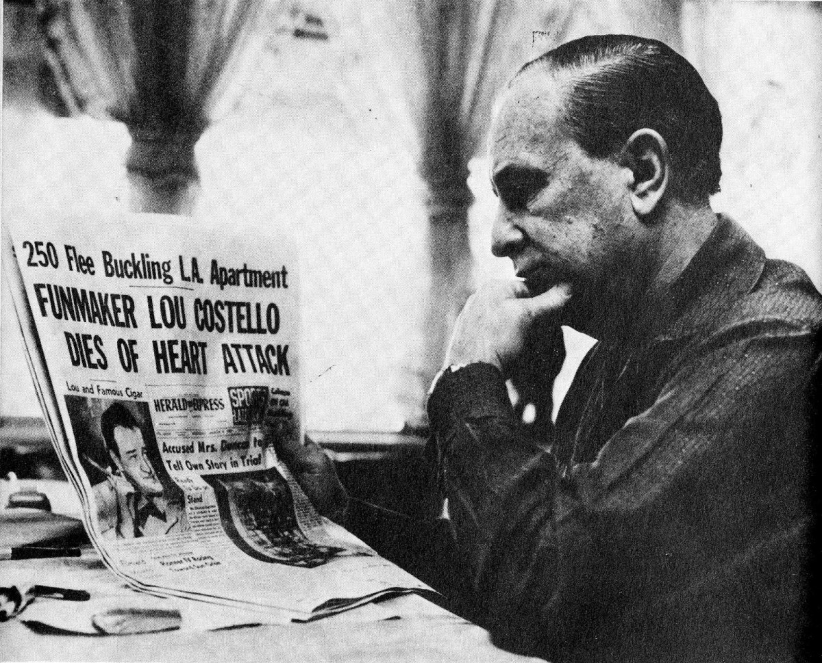 Bud Abbott reading the headlining death of Lou Costello.