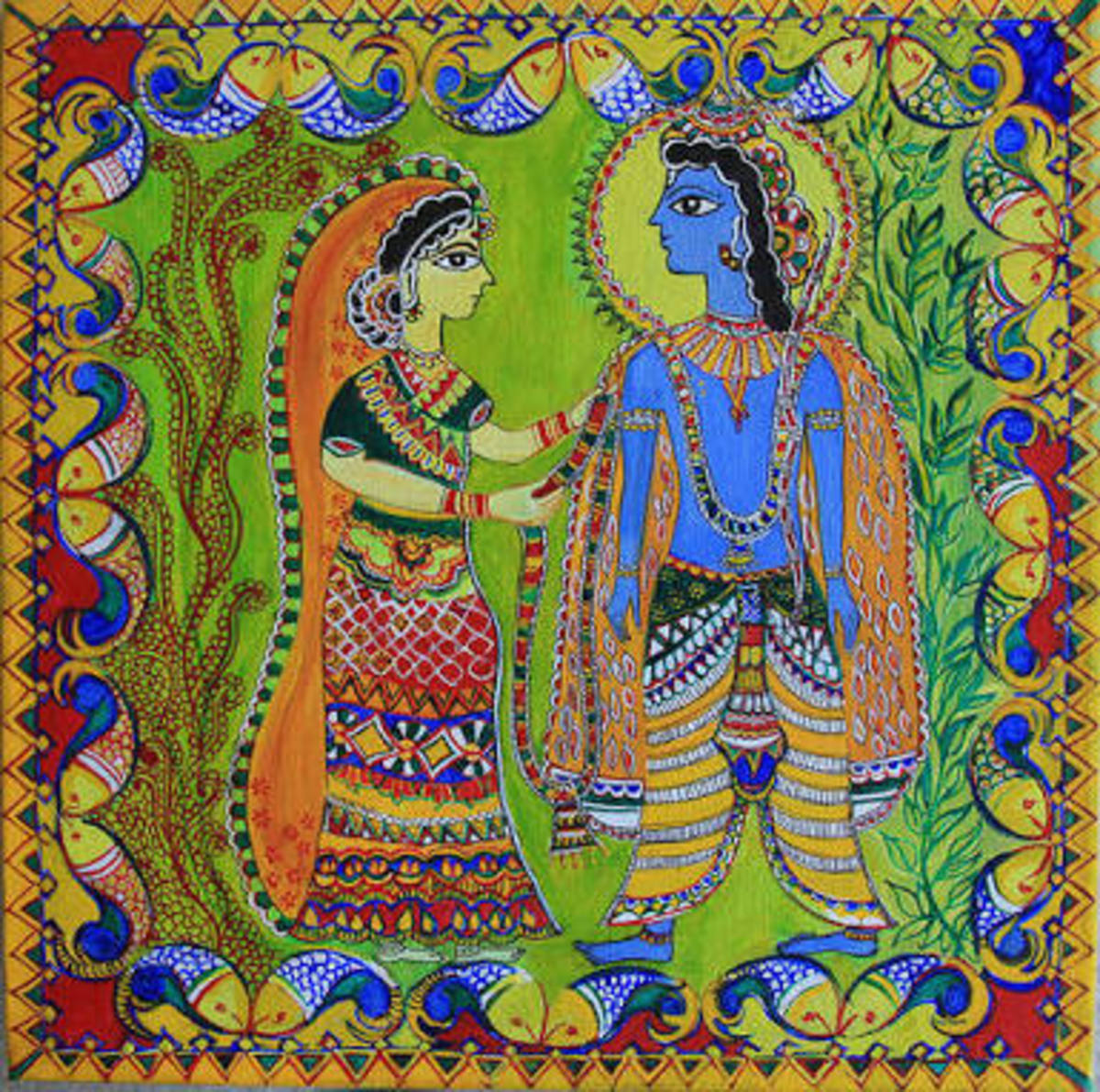 The Ram-Sita Wedding in Madhubani paintings