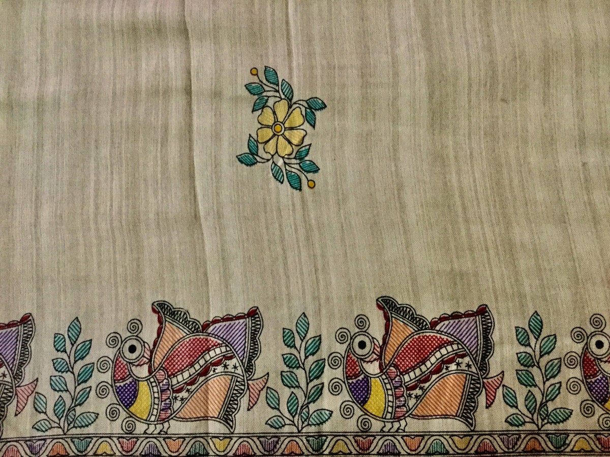 A pure silk Saree border with Madhubani art
