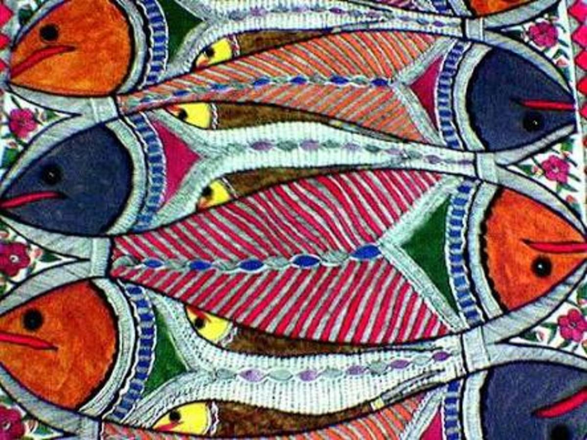 Madhubani paintings highlighting fish