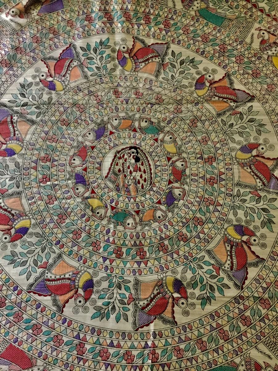 Madhubani art on a pure silk saree