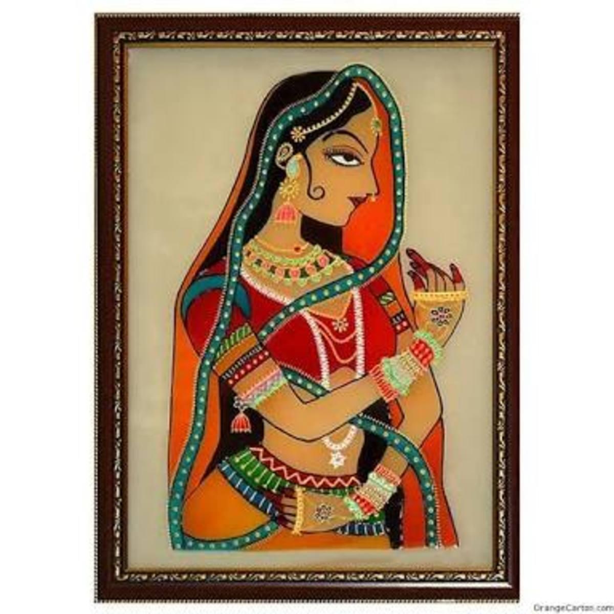 Madhubani painting showing a princess