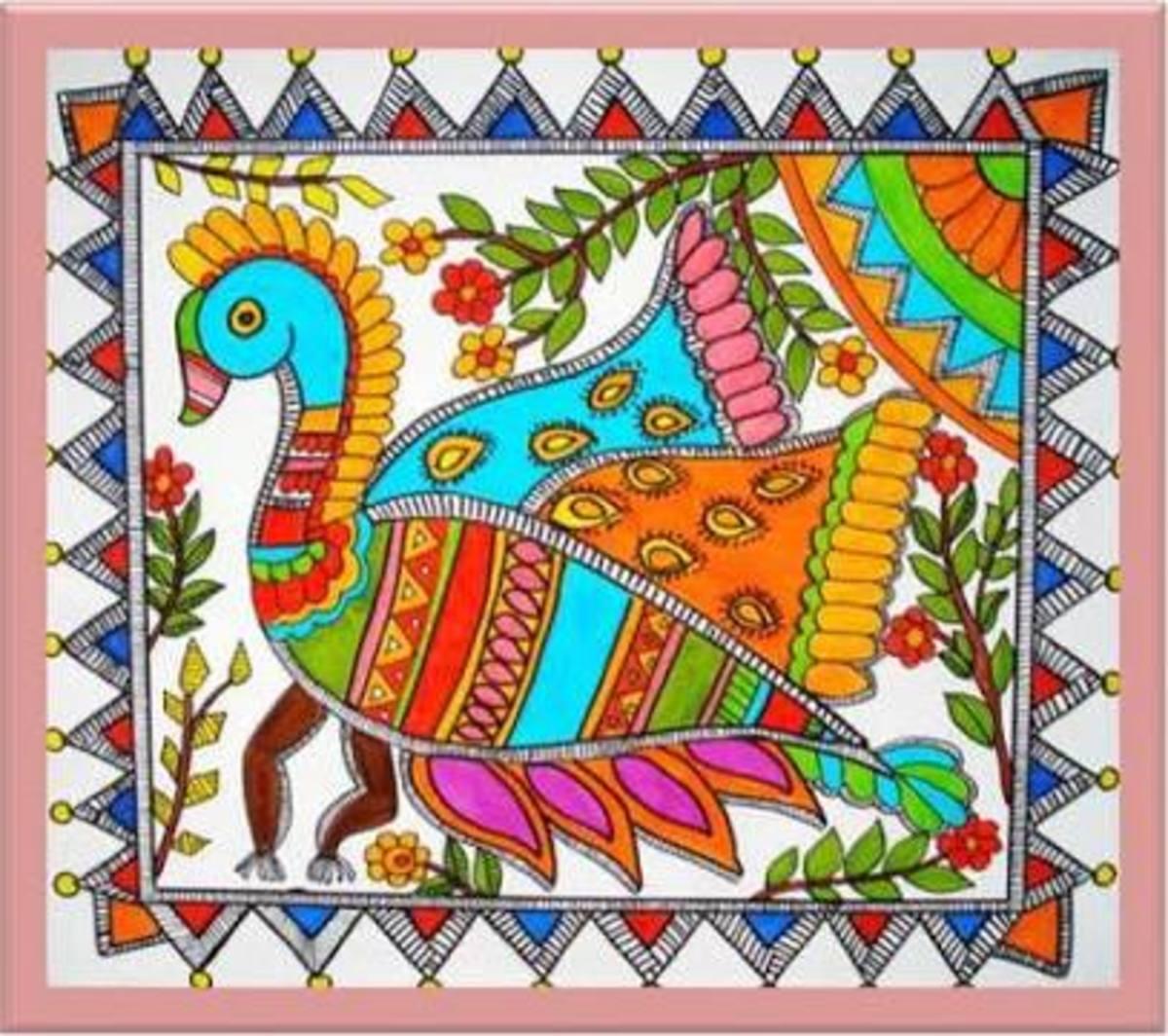 Madhubani art showing birds
