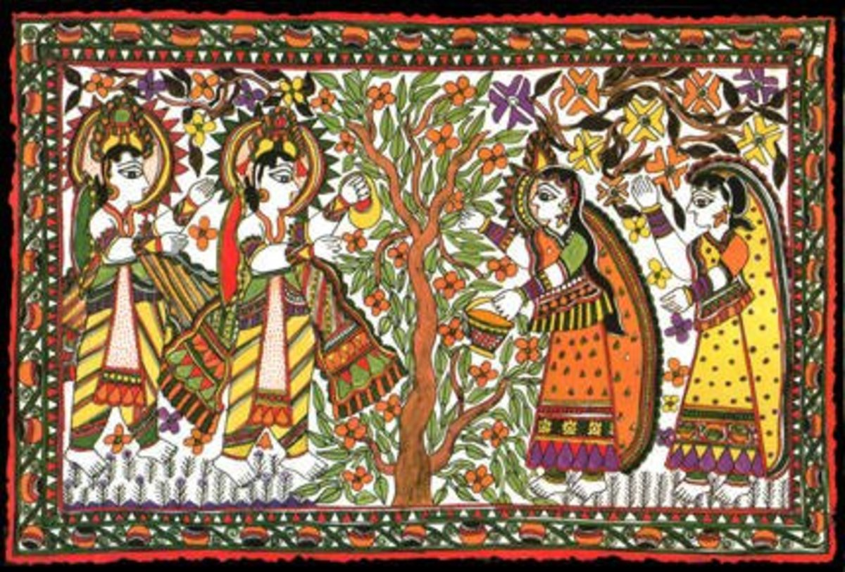 Madhubani paintings depicting a Wedding ritual