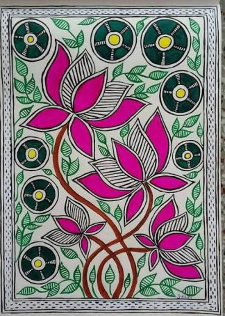 The Madhubani paintings have colourful flowers and leaves. It's my pleasure that the artist of this particular Lotus painting, visited my article. Her name is SHILPI SHRIVASTAVA, and you can read her comments below.