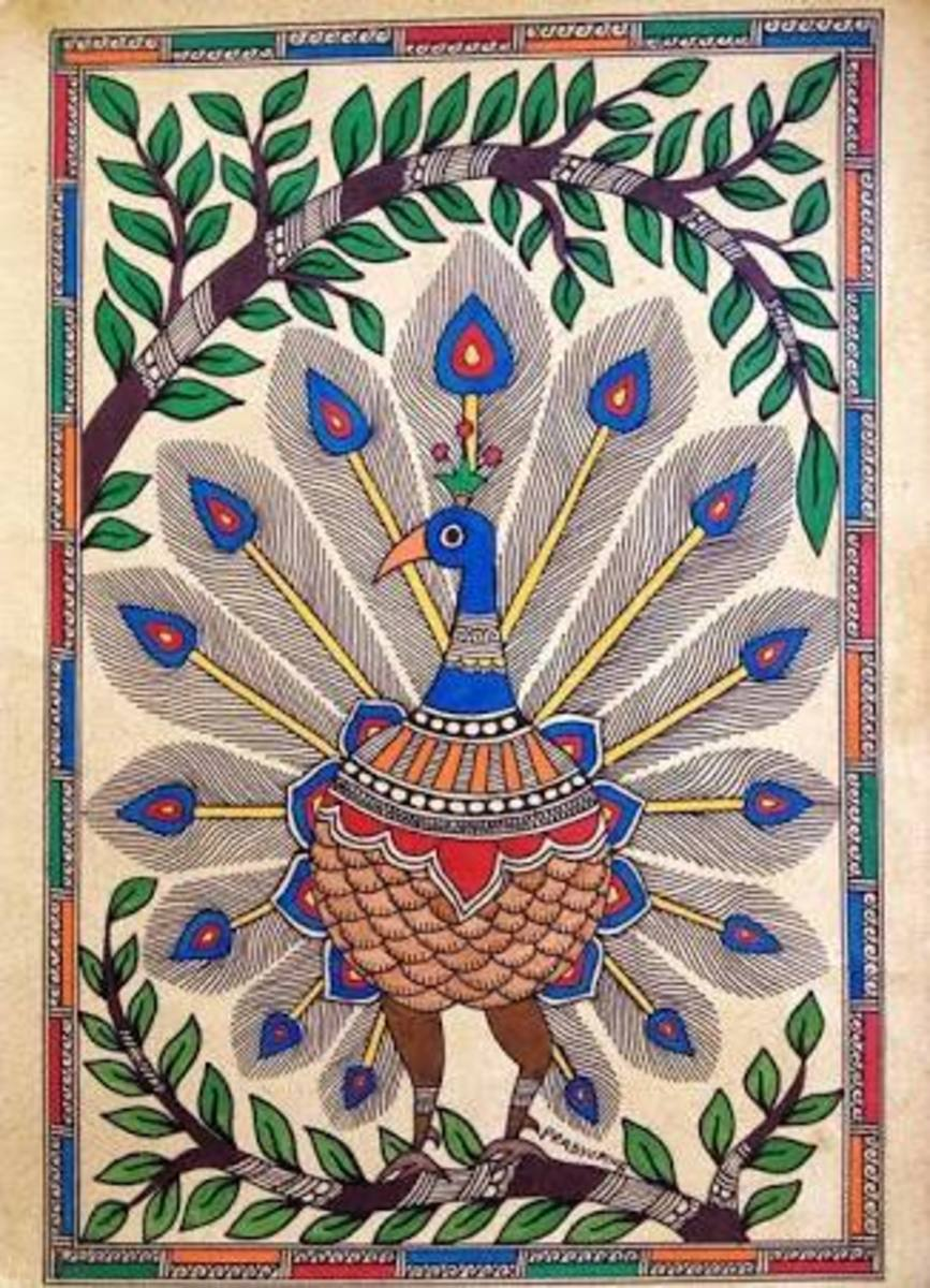 The peacock in Madhubani paintings