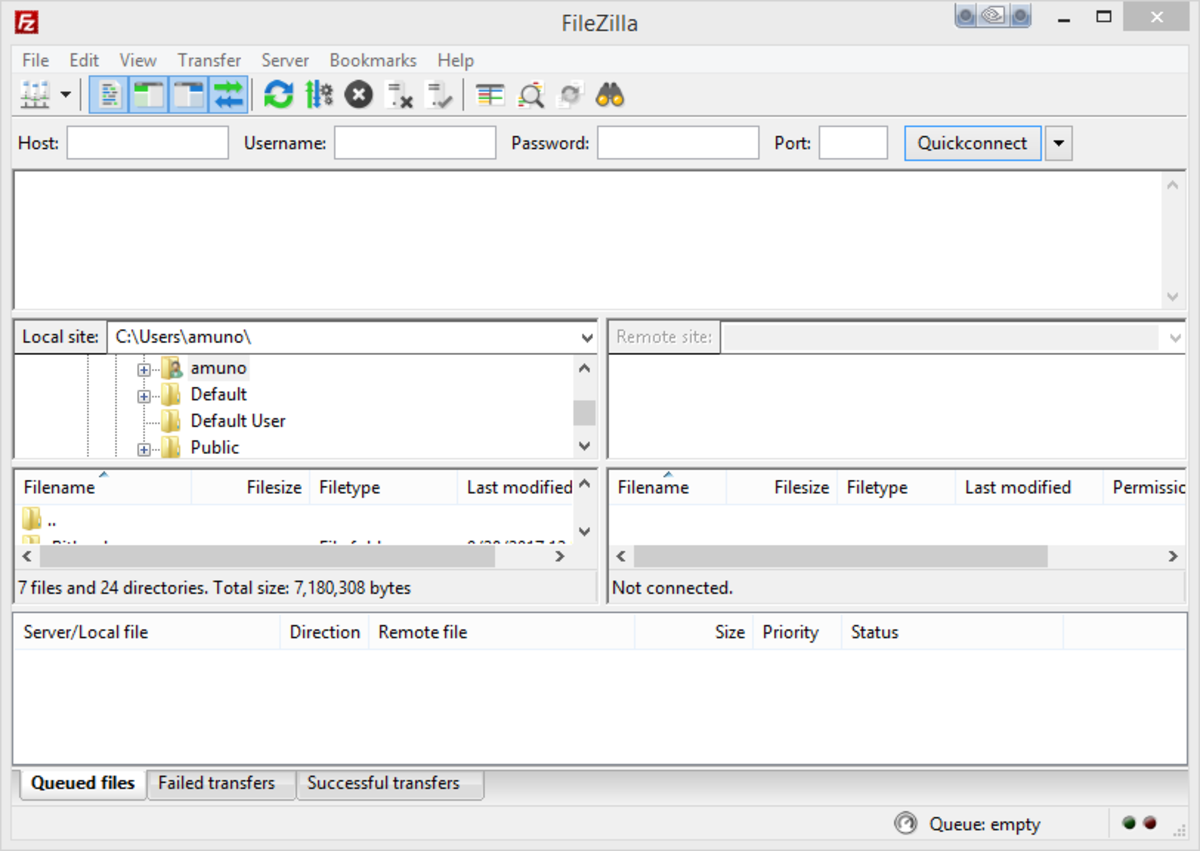 FileZilla for file transfer
