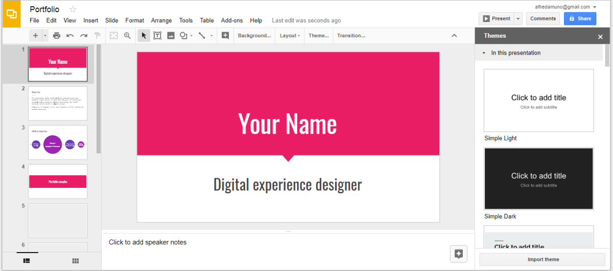 Google Slides is an online presentation app