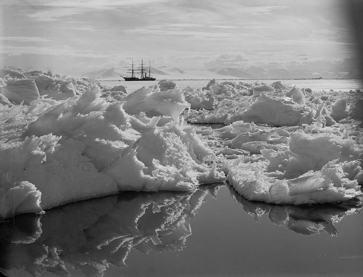"""Beautiful broken ice, reflections and Terra Nova"" January 7th, 1911"