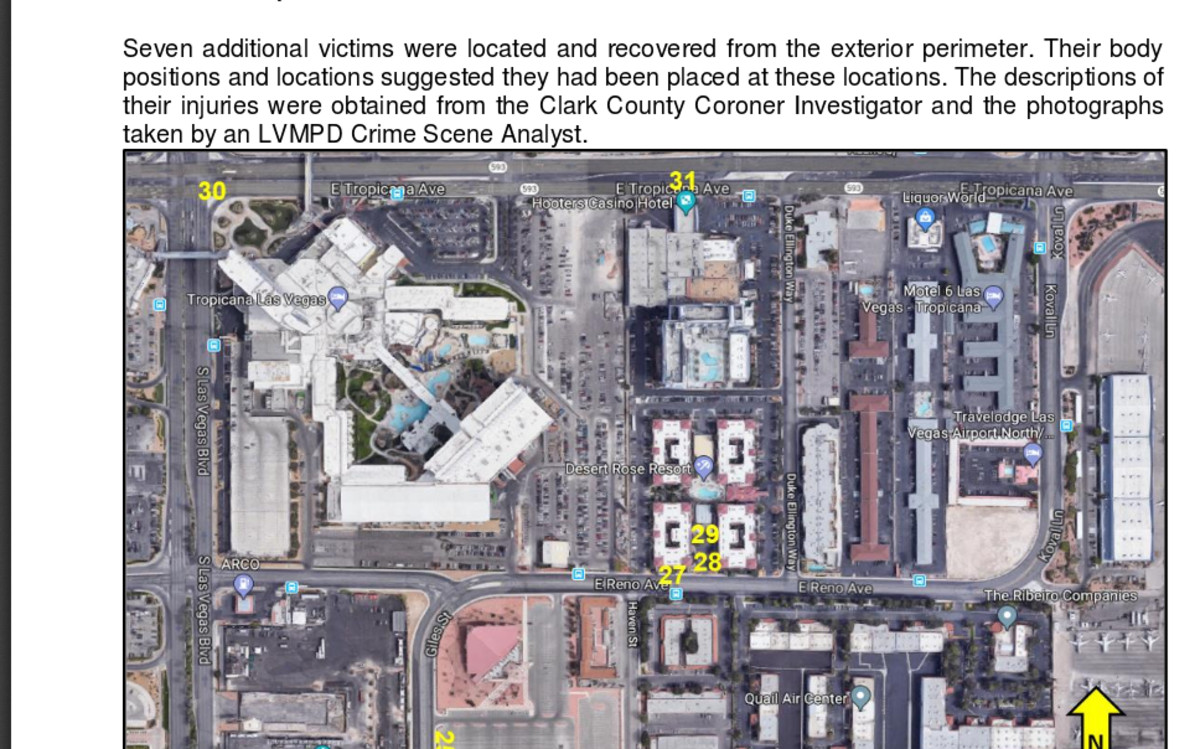 Page 34 of Preliminary Report, body recovery.  Number 30, Brian Scott Fraser, outside of Tropicana, number 31, Tara Ann Roe, outside of Hooters, north of the Mandalay Bay.
