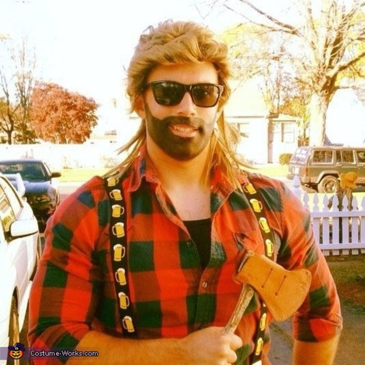 This guy dresses as a lumberjack using clothes he found at home