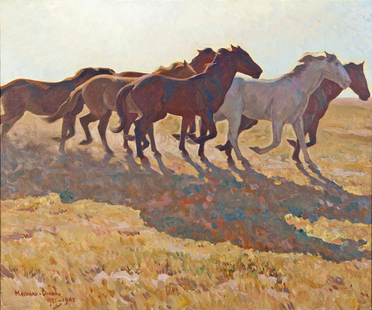 This Maynard Dixon painting is simply titled Remuda, which is a Spanish word, describing a herd of horses that has been broken. Normally, ranch hands would choose their mount for the day from this herd.