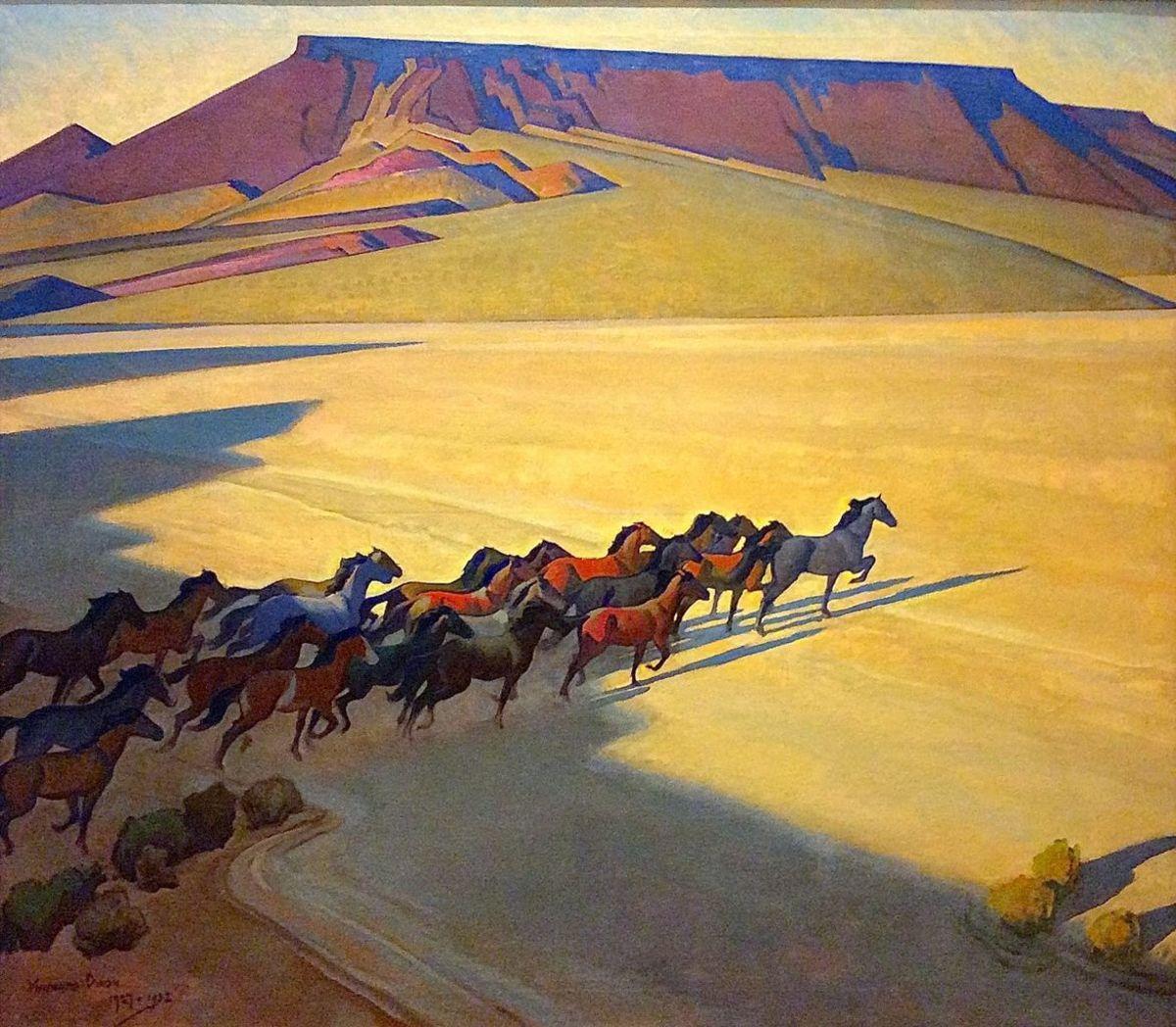 The Wild Horses of Nevada, a 1927 painting by Maynard Dixon