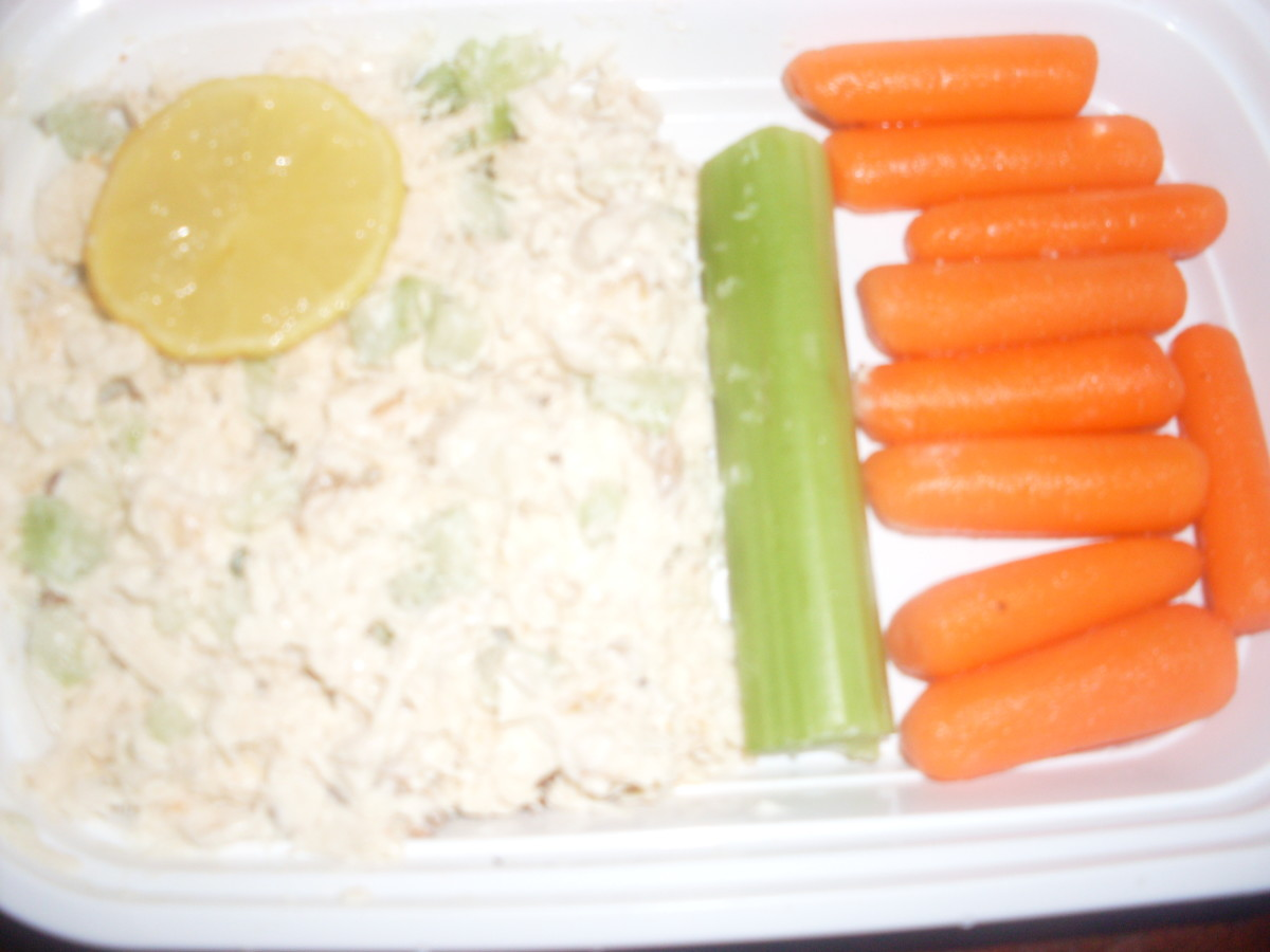 chicken salad with lemon, celery and carrots