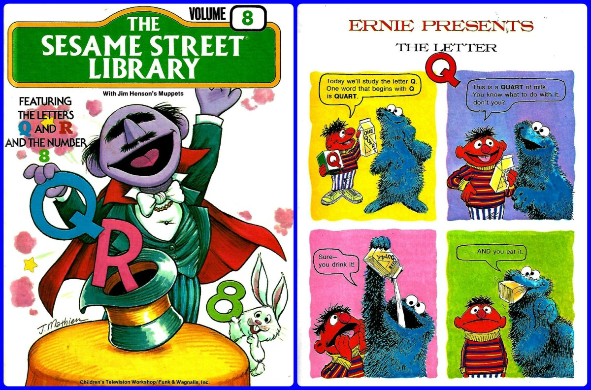 Ernie and Cookie Monster presents the letter Q, and much more about Q, R and the number 8 are in The Sesame Street Library, Volume 8, 1978