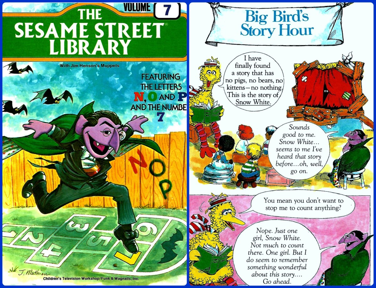 The Count Jumping on the Seven, and Big Birds Story Hour, all this and more are in part one, The Sesame Street Library, Volume Seven, published in the year 1978.