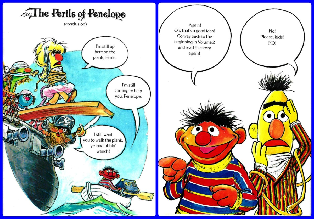 Penelope walking the plank in part two.  Volume Six, The Sesame Street Library, published in 1978 ... And Ernie and Bert telling all about what is coming up next.